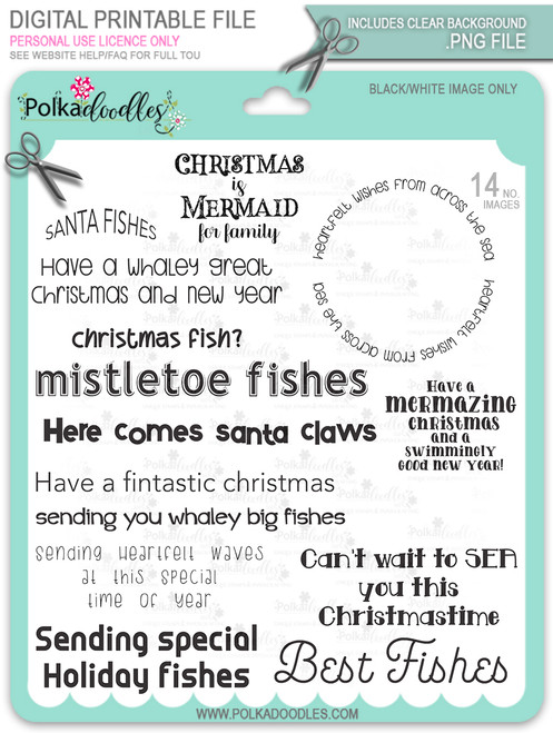 Too Cute Christmas Fishes Sentiments Bundle -  Holiday digital stamp downloads
