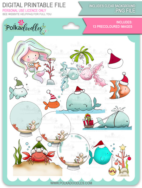 Too Cute Christmas Fishes Colour Bundle -  Holiday digital stamp downloads