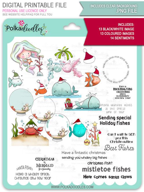 Too Cute Christmas Fishes Bundle - Holiday digital stamp downloads