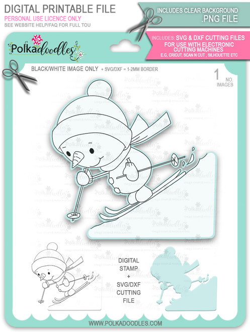 Ski Time! Too Cute digital stamp download including SVG file