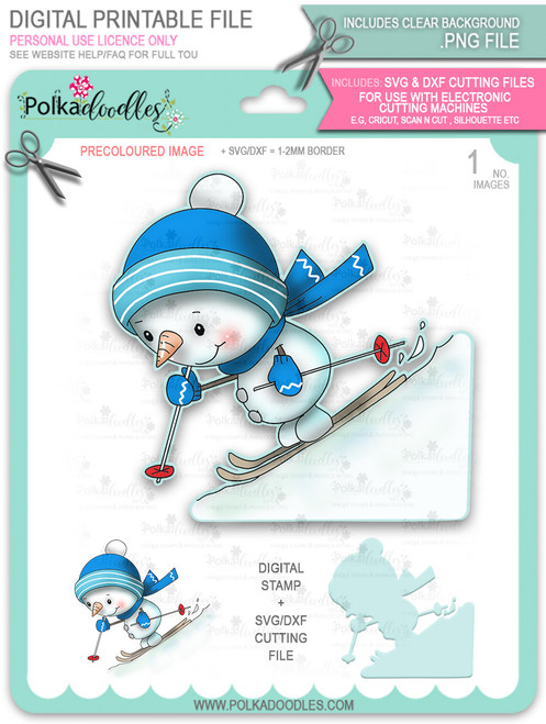 Ski Time! PRECOLOURED Too Cute digital stamp download including SVG file