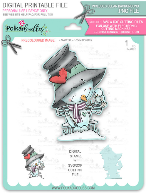 Sweet Tweet Snowman PRECOLOURED Too Cute digital stamp download including SVG file