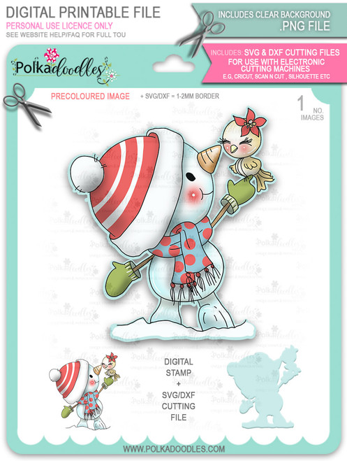 New Friends Snowman PRECOLOURED Too Cute digital stamp download including SVG file