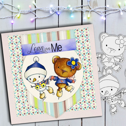 Ice Skating Snowman & Bear Too Cute digital stamp download including SVG file