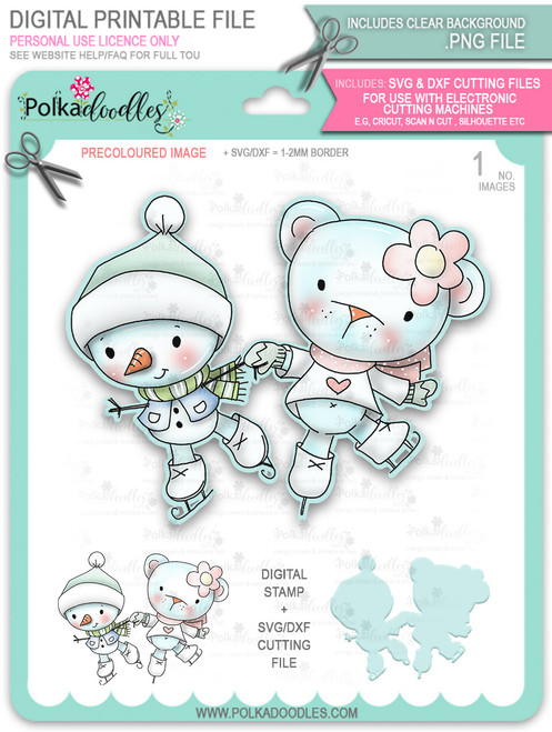 Ice Skating Snowman & Bear PRECOLOURED Too Cute digital stamp download including SVG file