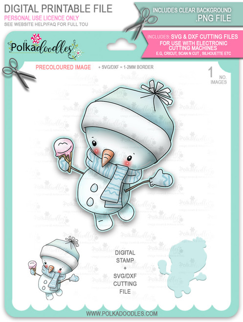 Ice Cream Snowman PRECOLOURED Too Cute digital stamp download including SVG file