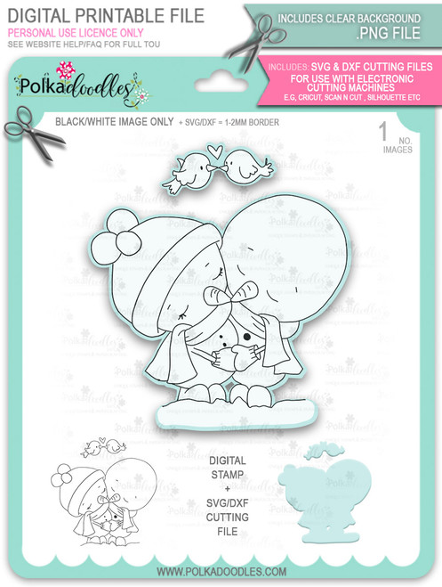 Snowmen Frosty Hugs Too Cute digital stamp download including SVG file