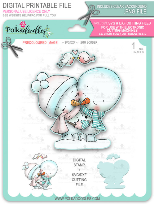 Snowmen Frosty Hugs PRECOLOURED Too Cute digital stamp download including SVG file