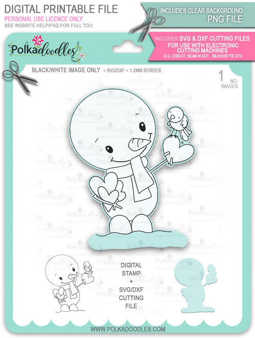 Hello Frosty Snowman Too Cute digital stamp download including SVG file