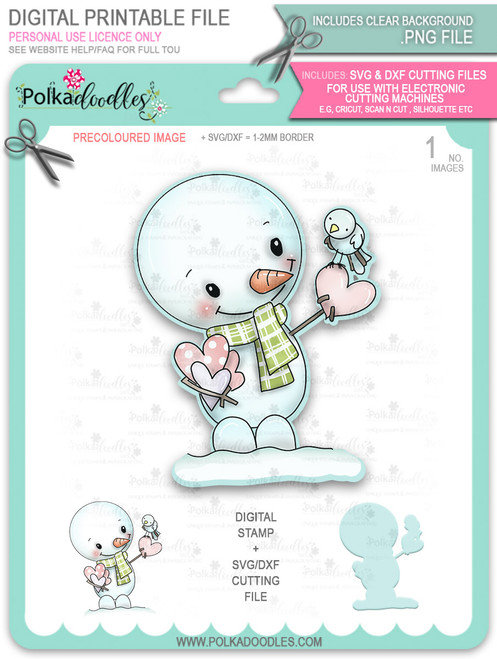 Hello Frosty Snowman PRECOLOURED Too Cute digital stamp download including SVG file