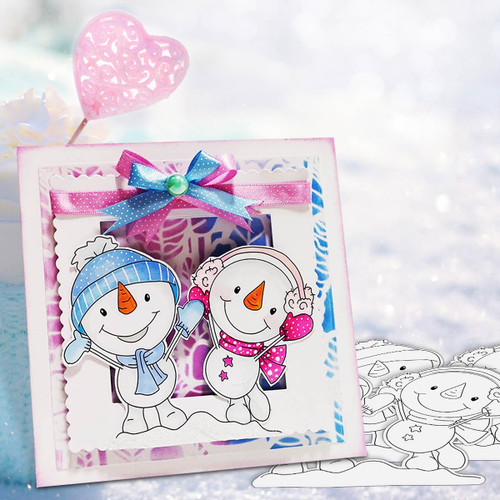 Happy Snowmen Couple Too Cute digital stamp download including SVG file