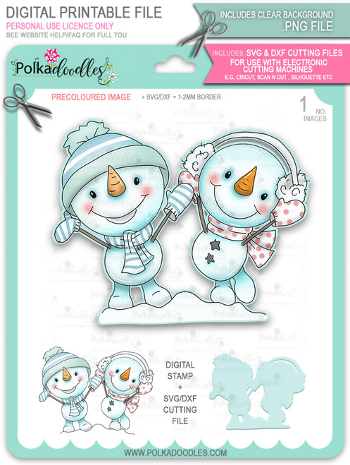 Happy Snowman Couple PRECOLOURED Too Cute digital stamp download including SVG file