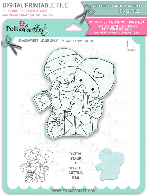 Snowmen Friends Too Cute digital stamp download including SVG file