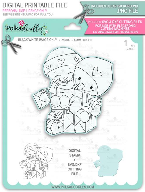 Snowmen Friends Too Cute digital stamp download including SVG file