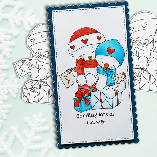 Snowman Friends PRECOLOURED Too Cute digital stamp download including SVG file