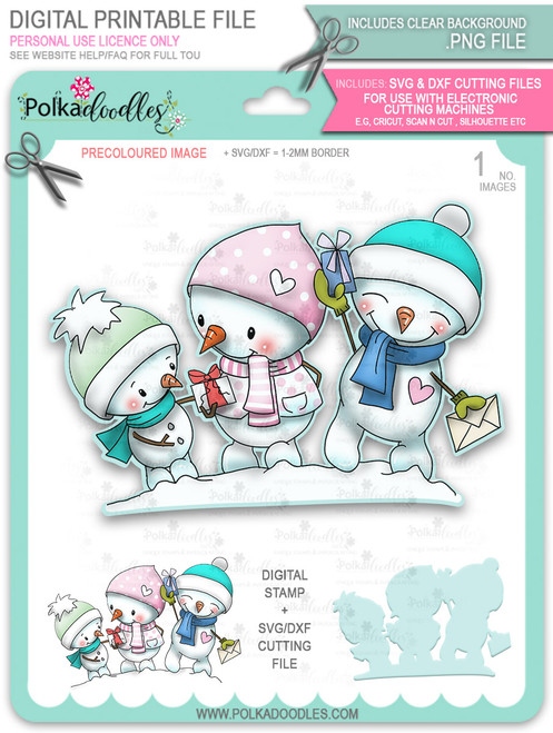 Snowmen Celebration PRECOLOURED Too Cute digital stamp download including SVG file