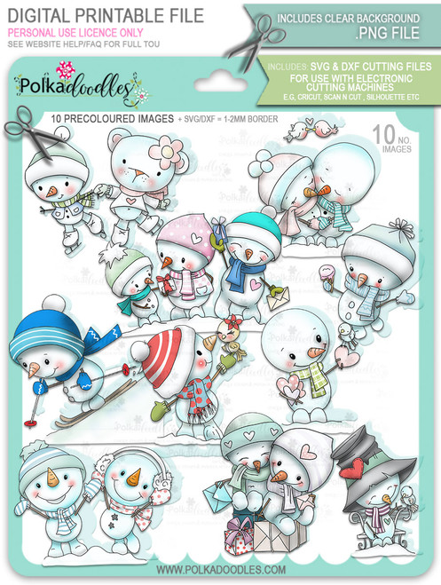 Frosty Winter Smiles Snowmen PRECOLOURED BUNDLE Too Cute digital stamp download including SVG file