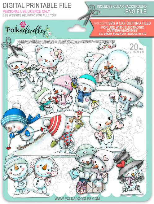 Frosty Winter Smiles Snowmen BIG KAHUNA BUNDLE - TOO Cute digital stamp download including SVG files