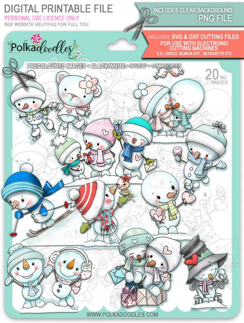 Frosty Winter Smiles Snowmen BIG KAHUNA BUNDLE - TOO Cute digital stamp download including SVG files