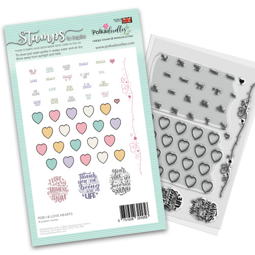 "Love Hearts 4 x 6""/A6 stamp set (PD8118)"