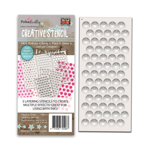 Hearts & Circles - 3 Layering Stencils Pack (PD8121)