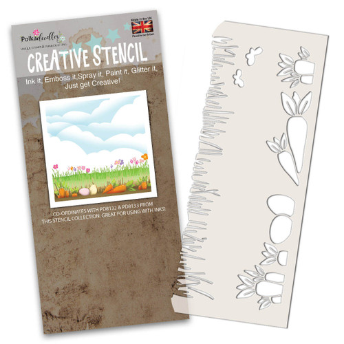 Spring Borders Stencil (PD8131) for creating scenes featuring carrots and grass