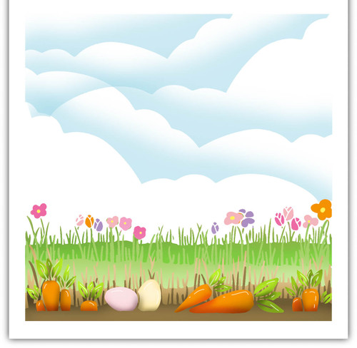 Spring Borders Stencil (PD8131) for creating scenes featuring carrots and grass background idea using inks