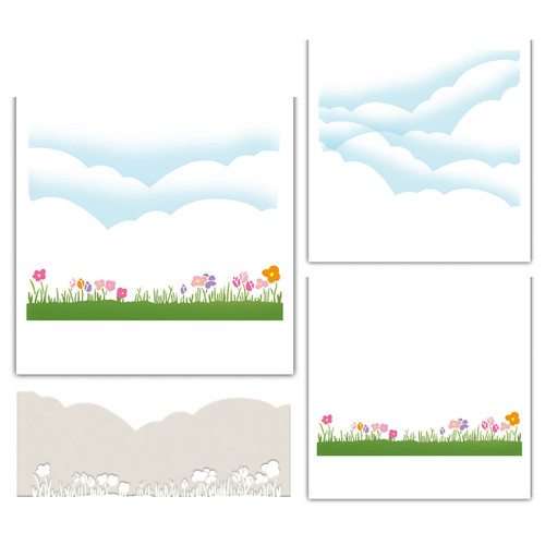 craft cardmaking scrapbooking border stencil Features a row of grass on one side and clouds and landscape on the other side examples of how to use it