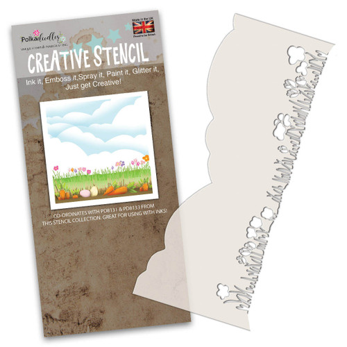 craft cardmaking scrapbooking border stencil Features a row of grass on one side and clouds and landscape on the other side
