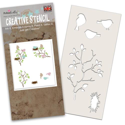 Bird in the bush craft stencil featuring 3 birds, birds nest and a bush/tree