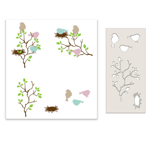 Bird in the bush craft stencil featuring 3 birds, birds nest and a bush/tree examples of project