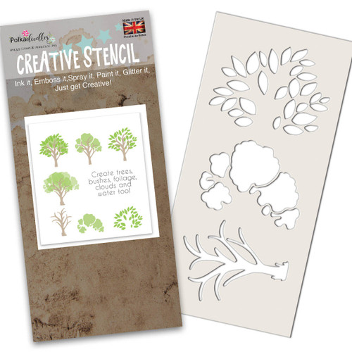 Tree-mendous craft Stencil for cardmaking and scrapbooking background