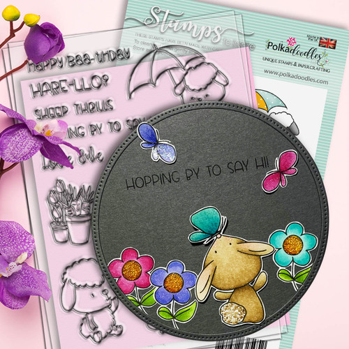 Spring Showers clear craft stamps bunny project