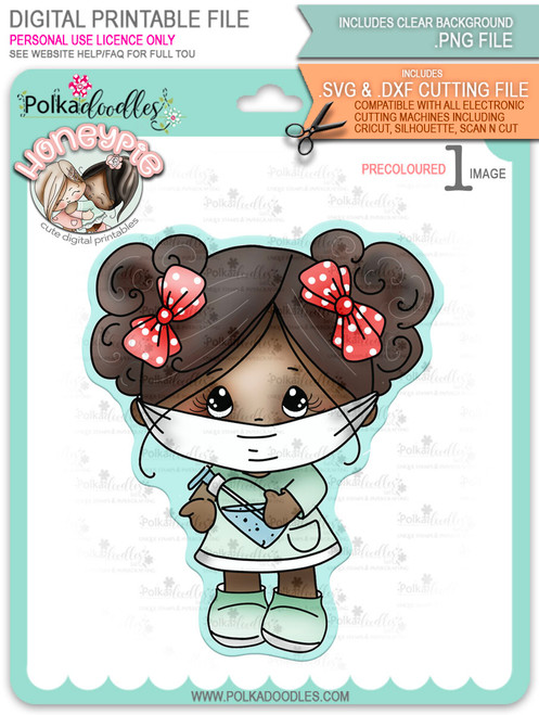 Honeypie Wearing a Mask - deep skin/hair - precoloured digital stamp printable download with free SVG /DXF file included (DLPD8345D)