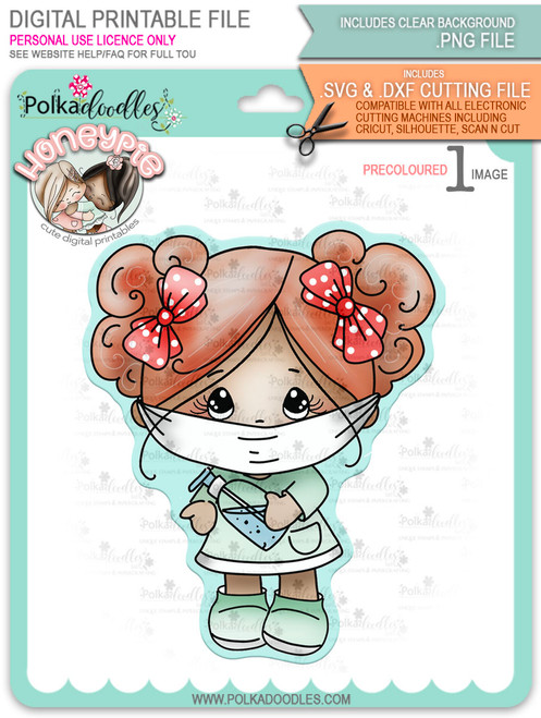 Honeypie Wearing a Mask - light skin/hair - precoloured digital stamp printable download with free SVG /DXF file included