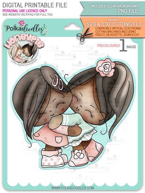 Honeypie Best Friends - deep skin/hair - precoloured digital stamp printable download with free SVG /DXF file included