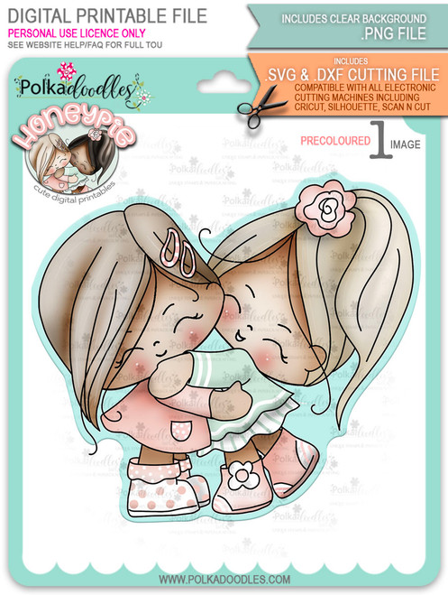 Honeypie Best Friends/Giving Hugs - light skin/hair - precoloured digital stamp printable download with free SVG /DXF file included