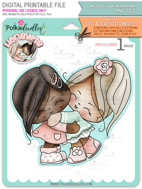 Honeypie Best Friends/Giving Hugs v1 - precoloured digital stamp printable download with free SVG /DXF file included