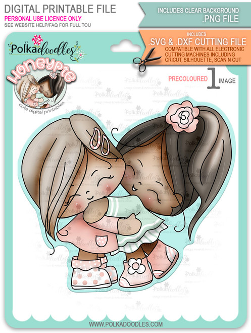 Honeypie Best Friends/Giving Hugs v2 - precoloured digital stamp printable download with free SVG /DXF file included