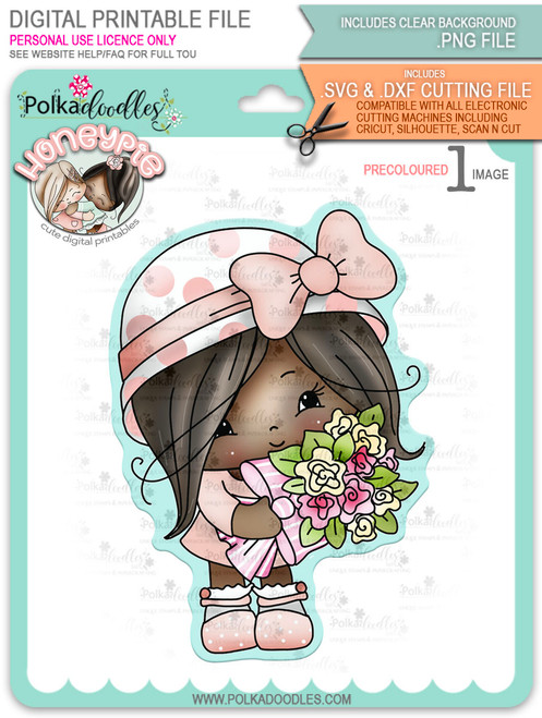 Honeypie Sweet Bouquet Flowers - deep skin/hair precoloured digital stamp printable download with free SVG /DXF file included