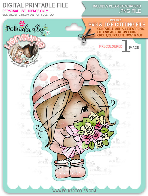 Honeypie Sweet Bouquet Flowers - light skin/hair precoloured digital stamp printable download with free SVG /DXF file included