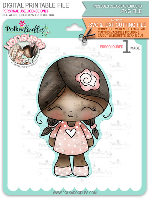 Honeypie cutiepie - deep skin/hair precoloured digital stamp printable download with free SVG /DXF file included