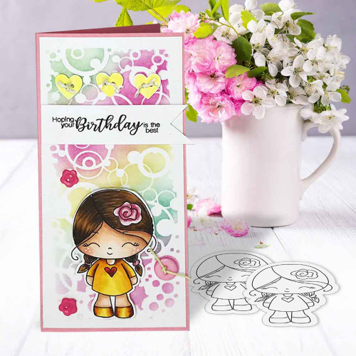 Honeypie cutiepie - light skin/hair precoloured digital stamp printable download with free SVG /DXF file included