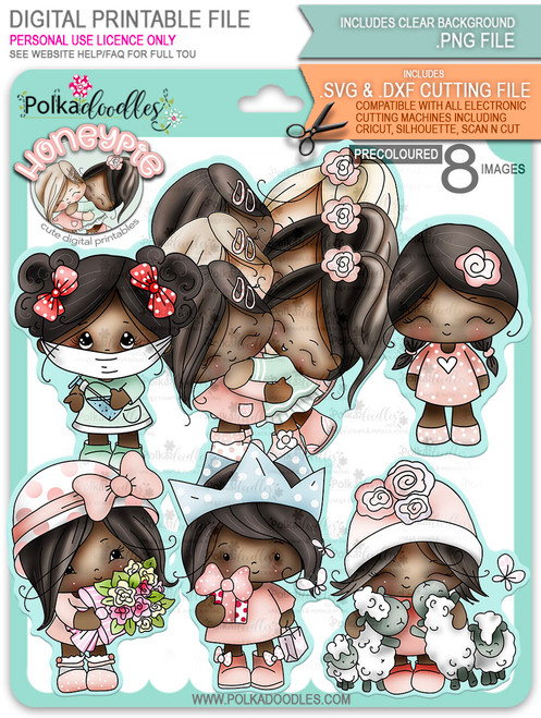 Honeypie Bundle - deep skin/hair 8 precoloured digital stamp printable downloads with free SVG /DXF files included