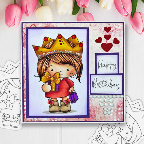 Honeypie Birthday Girl - black/white digital stamp printable download with free SVG /DXF file included