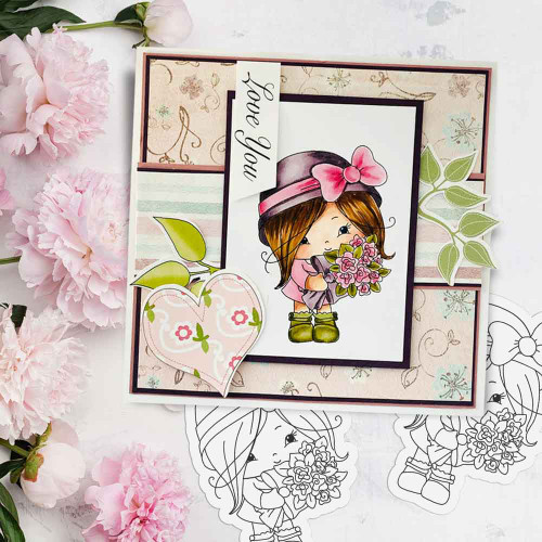 Honeypie Sweet Flower Bouquet - black/white digital stamp printable download with free SVG /DXF file included