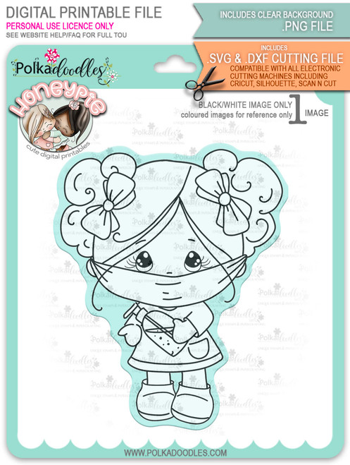 Honeypie Face Mask/Be Safe - black/white digital stamp printable download with free SVG /DXF file included