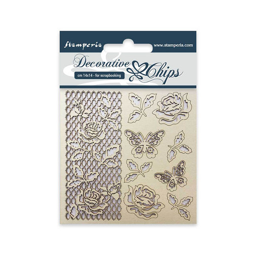 Stamperia Rose and Butterfly Decorative Chips 14 x 14 cm