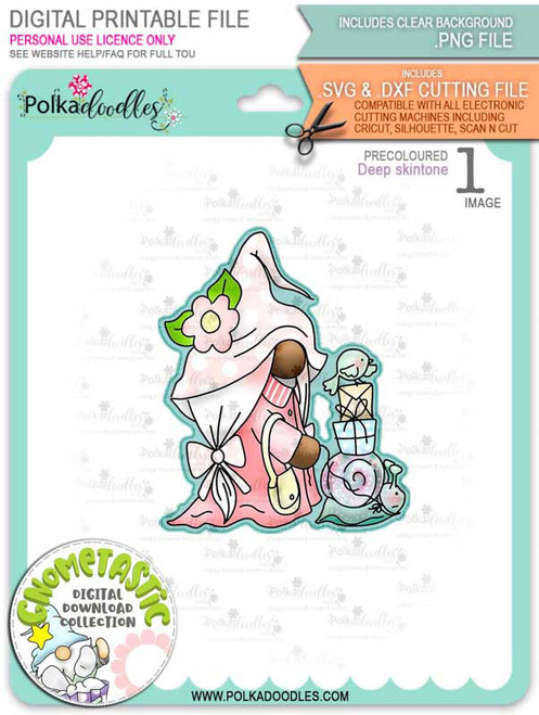 Gnometastic Snails Pace - deep skin PRECOLOURED digital stamp printable download with free SVG /DXF file included