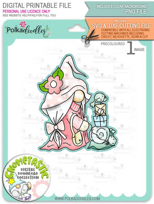 Gnometastic Snails Pace - light skin PRECOLOURED digital stamp printable download with free SVG /DXF file included